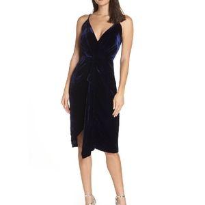 Harlyn | blue velvet drape dress NWT* size medium